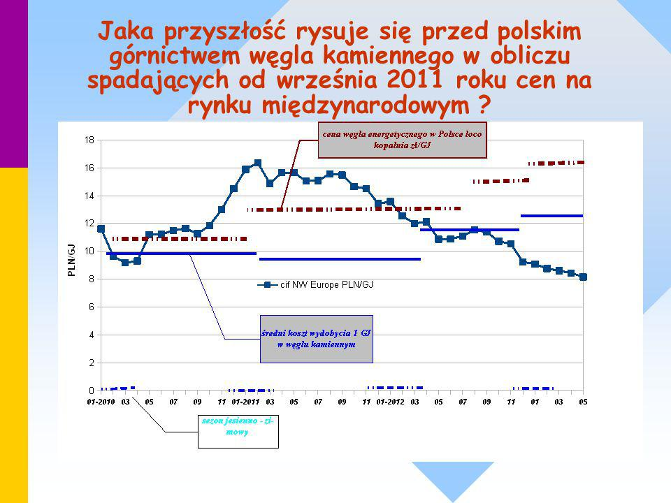 Jaka przyszłość rysuje się przed polskim górnictwem węgla kamiennego w obliczu spadających od września 2011 roku cen na rynku międzynarodowym