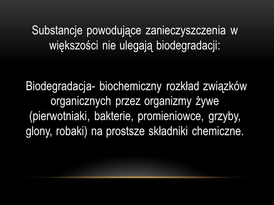 Substancje powodujące zanieczyszczenia w większości nie ulegają biodegradacji: Biodegradacja- biochemiczny rozkład związków organicznych przez organizmy żywe (pierwotniaki, bakterie, promieniowce, grzyby, glony, robaki) na prostsze składniki chemiczne.