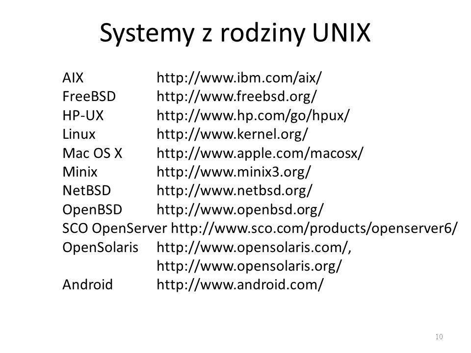Systemy z rodziny UNIX AIX http://www.ibm.com/aix/
