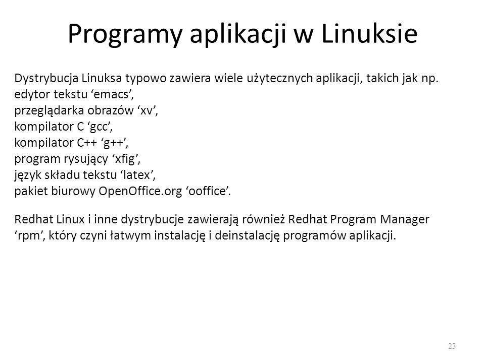 Programy aplikacji w Linuksie