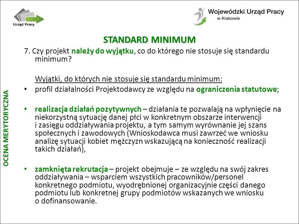 STANDARD MINIMUM 7. Czy projekt należy do wyjątku, co do którego nie stosuje się standardu minimum