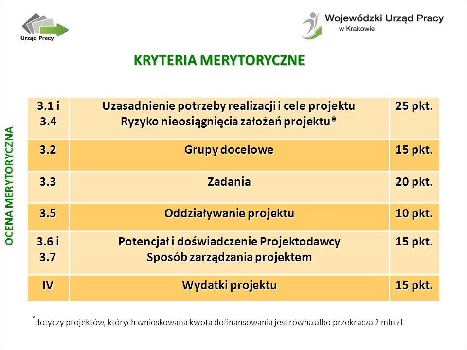 KRYTERIA MERYTORYCZNE