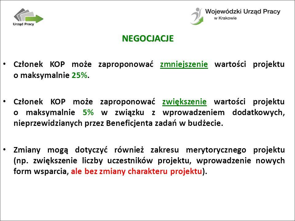 NEGOCJACJE Członek KOP może zaproponować zmniejszenie wartości projektu o maksymalnie 25%.