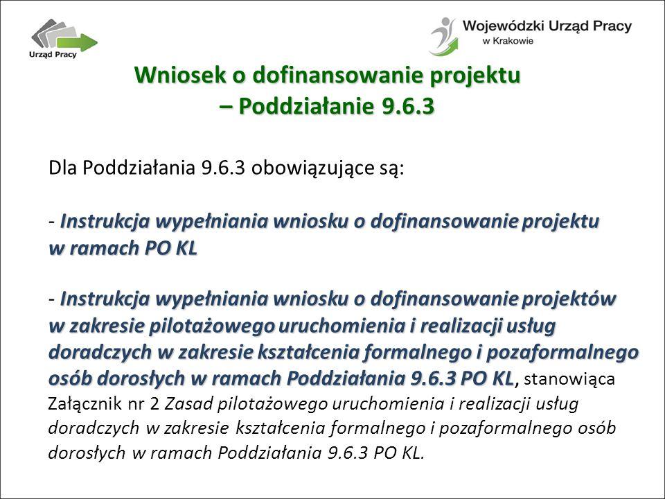Wniosek o dofinansowanie projektu – Poddziałanie 9.6.3