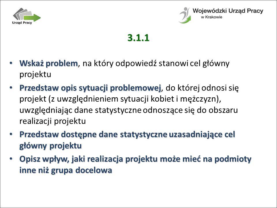 3.1.1 Wskaż problem, na który odpowiedź stanowi cel główny projektu