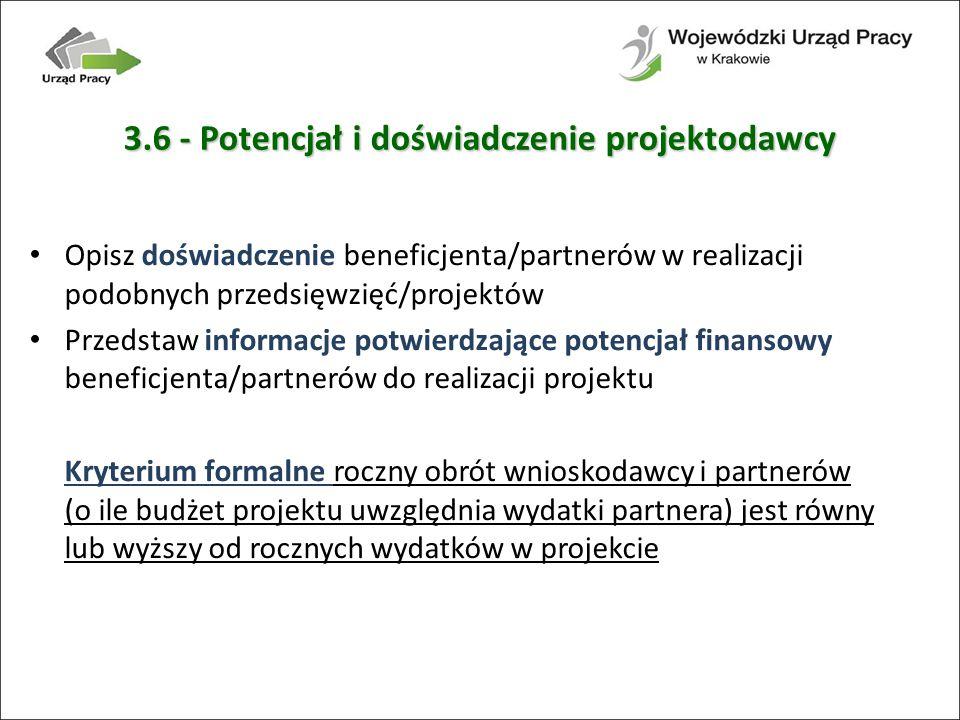 3.6 - Potencjał i doświadczenie projektodawcy