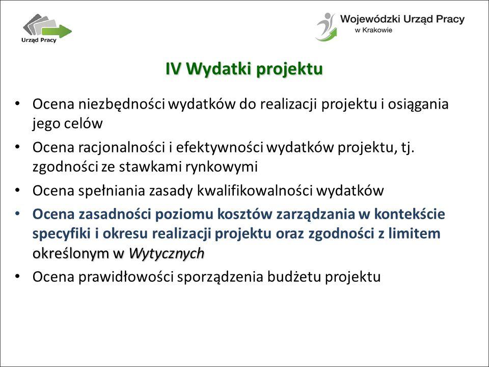IV Wydatki projektu Ocena niezbędności wydatków do realizacji projektu i osiągania jego celów.