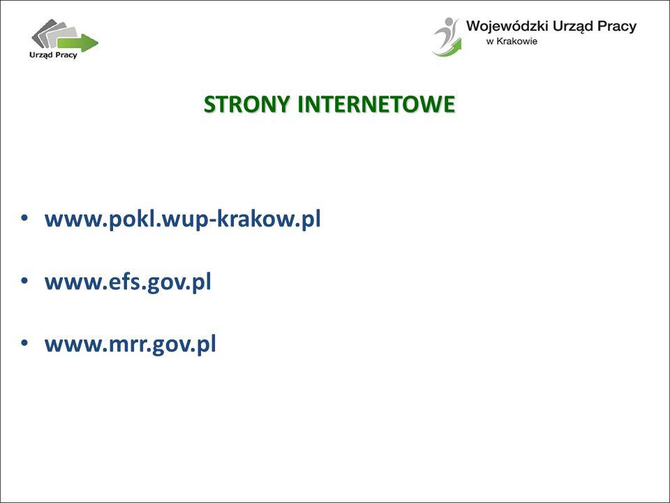 STRONY INTERNETOWE www.pokl.wup-krakow.pl www.efs.gov.pl