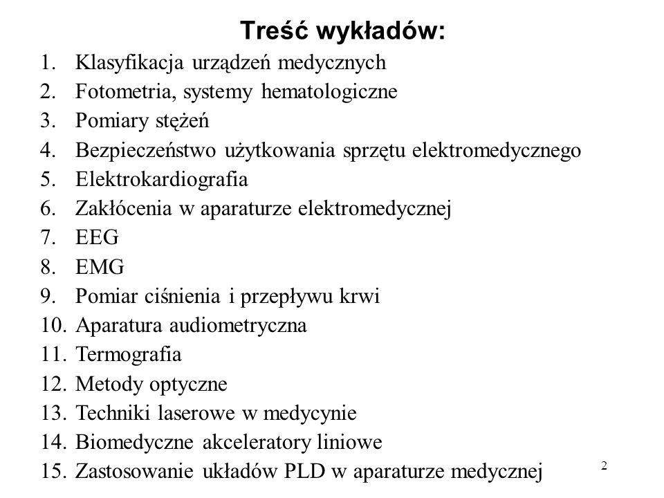 Treść wykładów: Klasyfikacja urządzeń medycznych