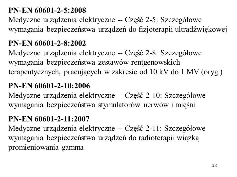 PN-EN 60601-2-5:2008 Medyczne urządzenia elektryczne -- Część 2-5: Szczegółowe wymagania bezpieczeństwa urządzeń do fizjoterapii ultradźwiękowej.