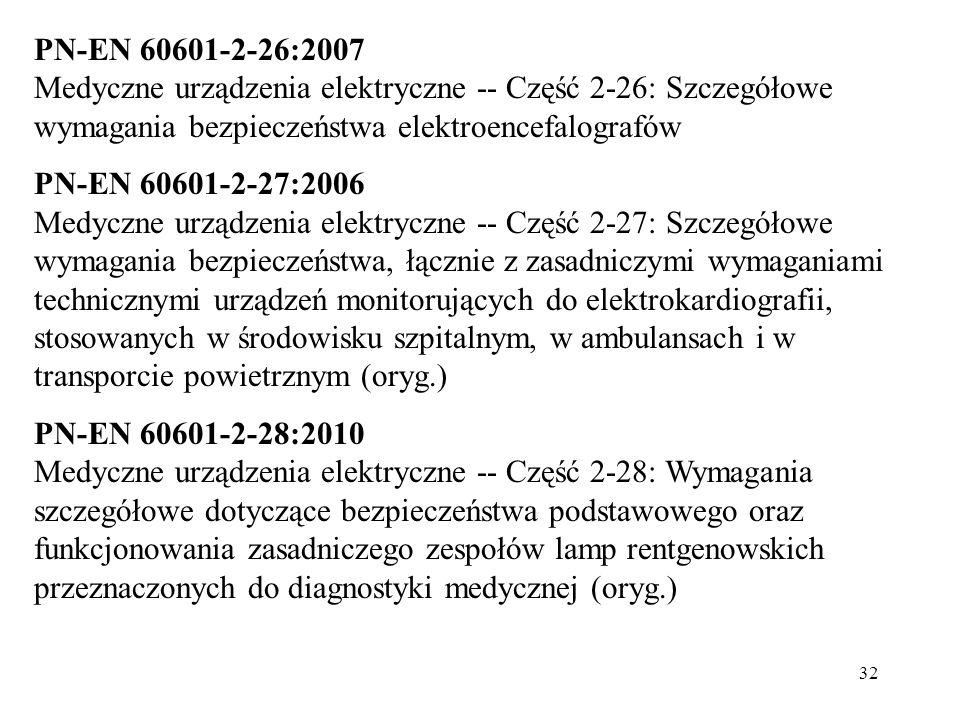 PN-EN 60601-2-26:2007 Medyczne urządzenia elektryczne -- Część 2-26: Szczegółowe wymagania bezpieczeństwa elektroencefalografów.