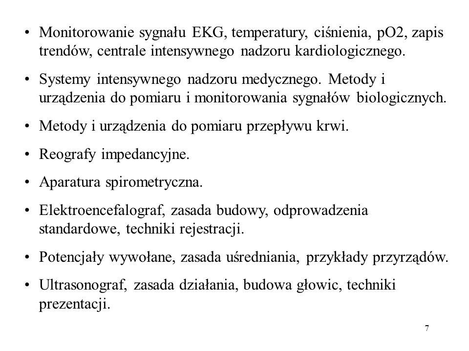 Monitorowanie sygnału EKG, temperatury, ciśnienia, pO2, zapis trendów, centrale intensywnego nadzoru kardiologicznego.