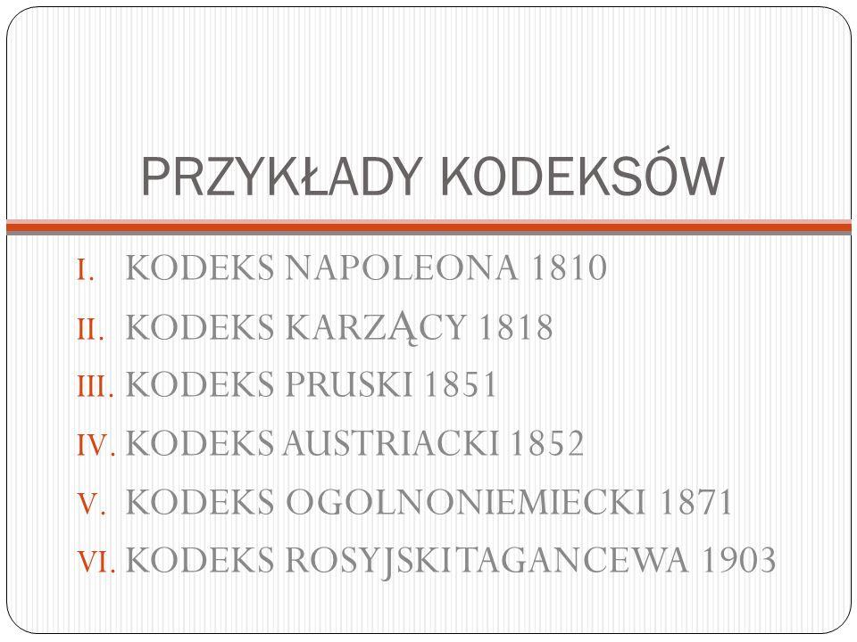 PRZYKŁADY KODEKSÓW KODEKS NAPOLEONA 1810 KODEKS KARZĄCY 1818