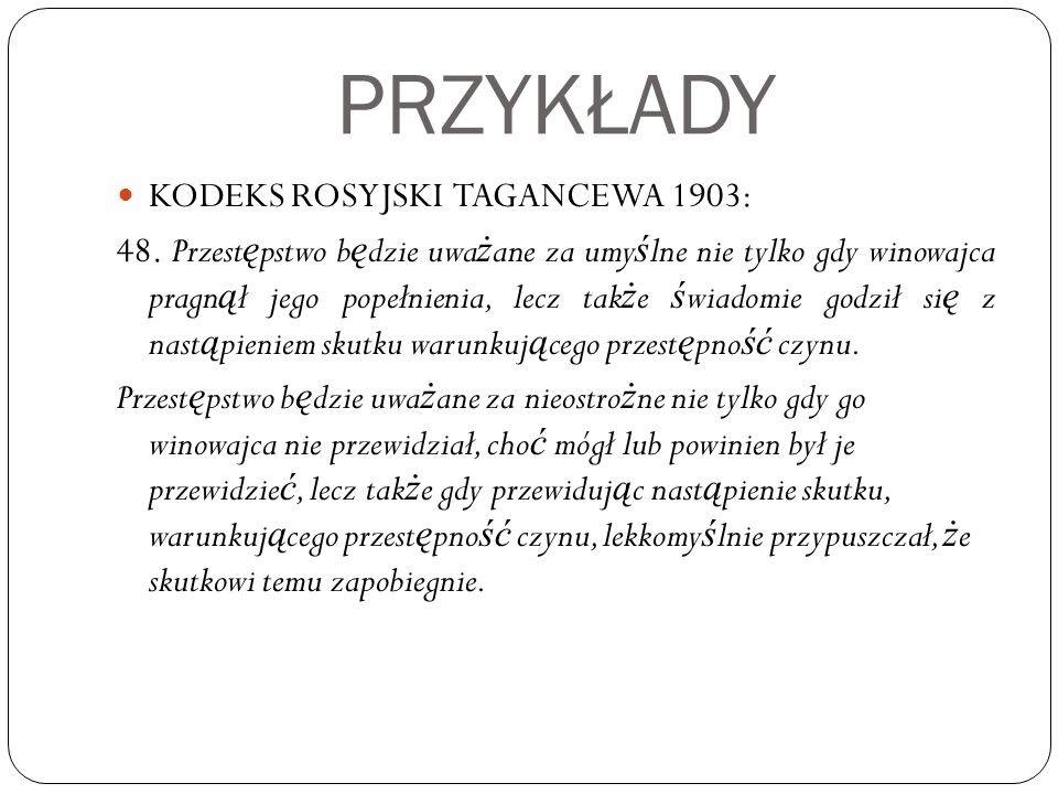 PRZYKŁADY KODEKS ROSYJSKI TAGANCEWA 1903: