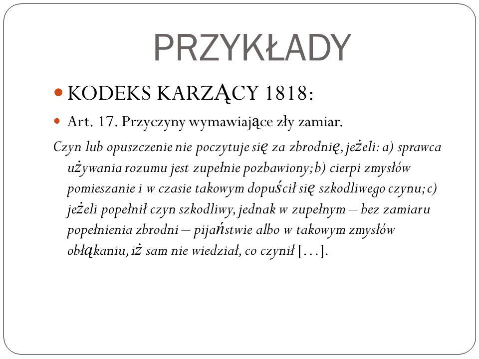 PRZYKŁADY KODEKS KARZĄCY 1818:
