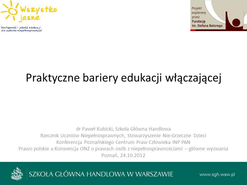 Praktyczne bariery edukacji włączającej