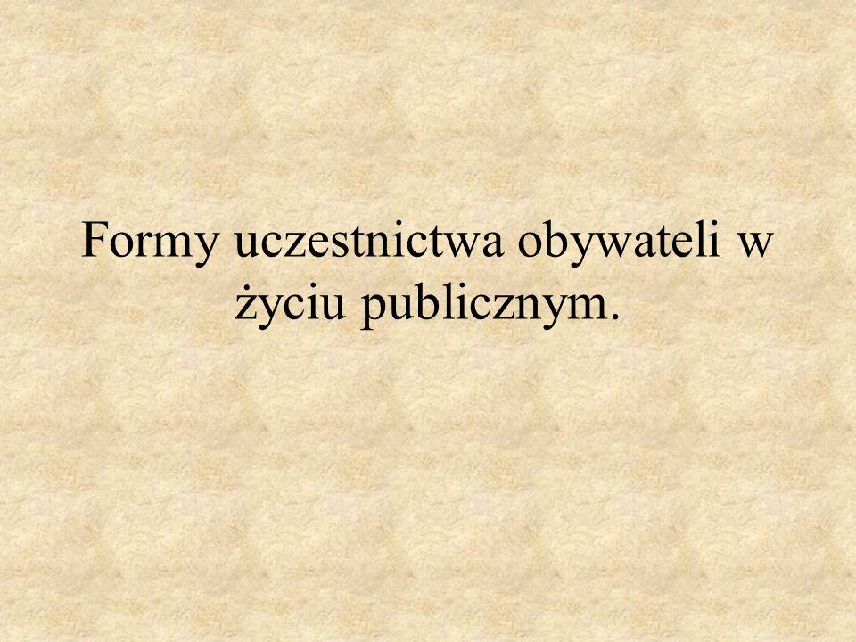 Formy uczestnictwa obywateli w życiu publicznym.