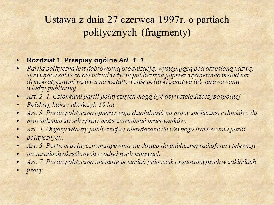 Ustawa z dnia 27 czerwca 1997r. o partiach politycznych (fragmenty)