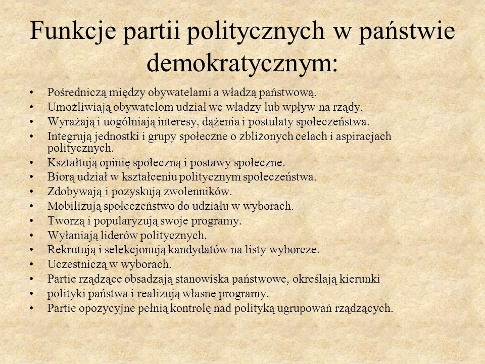Funkcje partii politycznych w państwie demokratycznym: