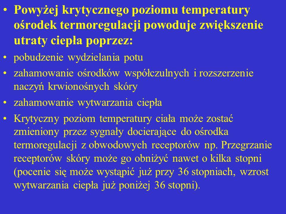 Powyżej krytycznego poziomu temperatury ośrodek termoregulacji powoduje zwiększenie utraty ciepła poprzez: