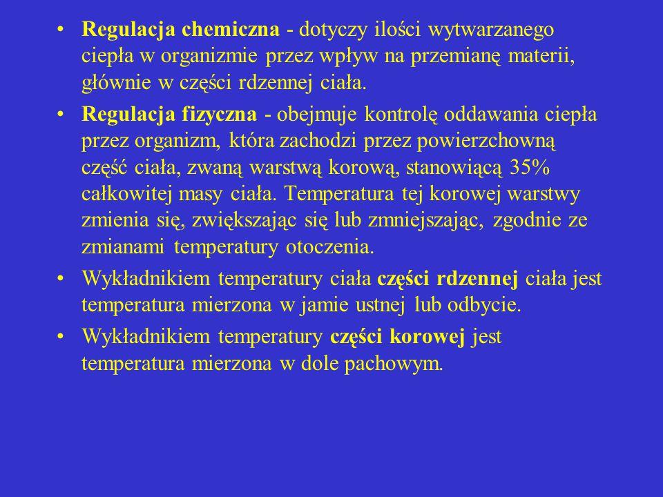 Regulacja chemiczna - dotyczy ilości wytwarzanego ciepła w organizmie przez wpływ na przemianę materii, głównie w części rdzennej ciała.
