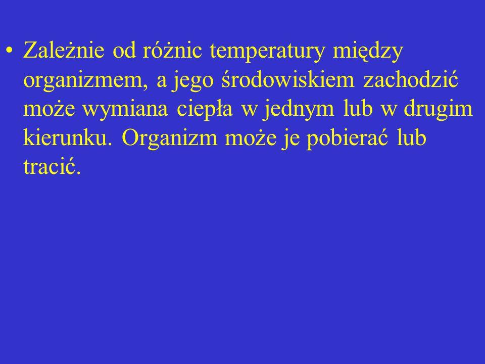 Zależnie od różnic temperatury między organizmem, a jego środowiskiem zachodzić może wymiana ciepła w jednym lub w drugim kierunku.