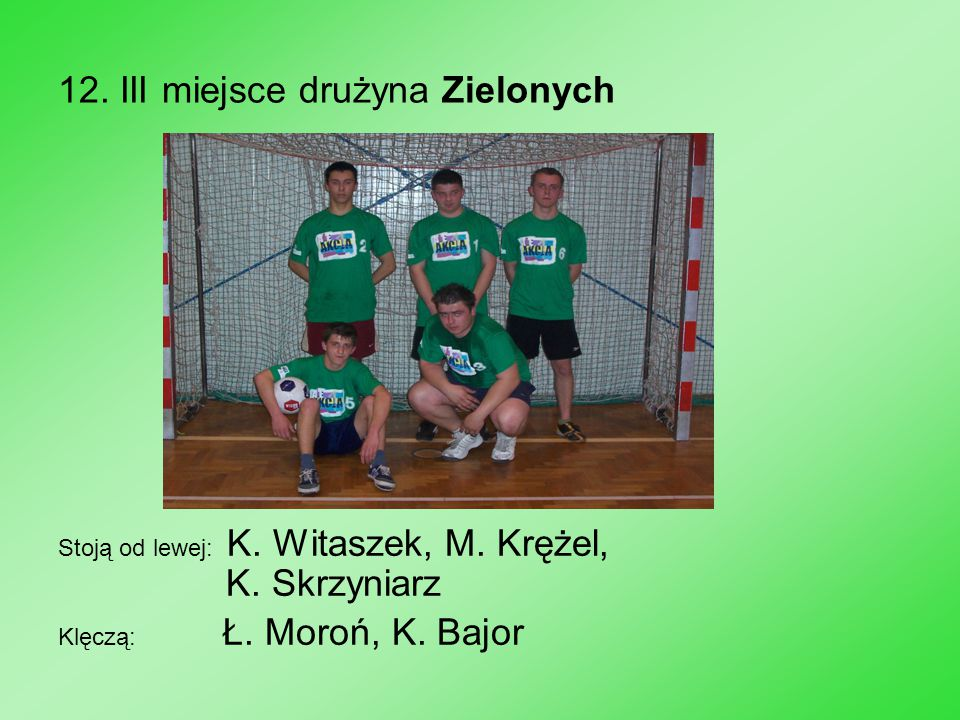 12. III miejsce drużyna Zielonych