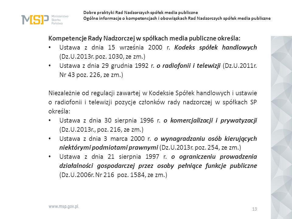Kompetencje Rady Nadzorczej w spółkach media publiczne określa:
