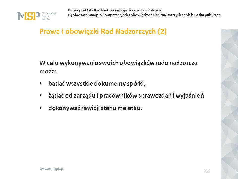 Prawa i obowiązki Rad Nadzorczych (2)