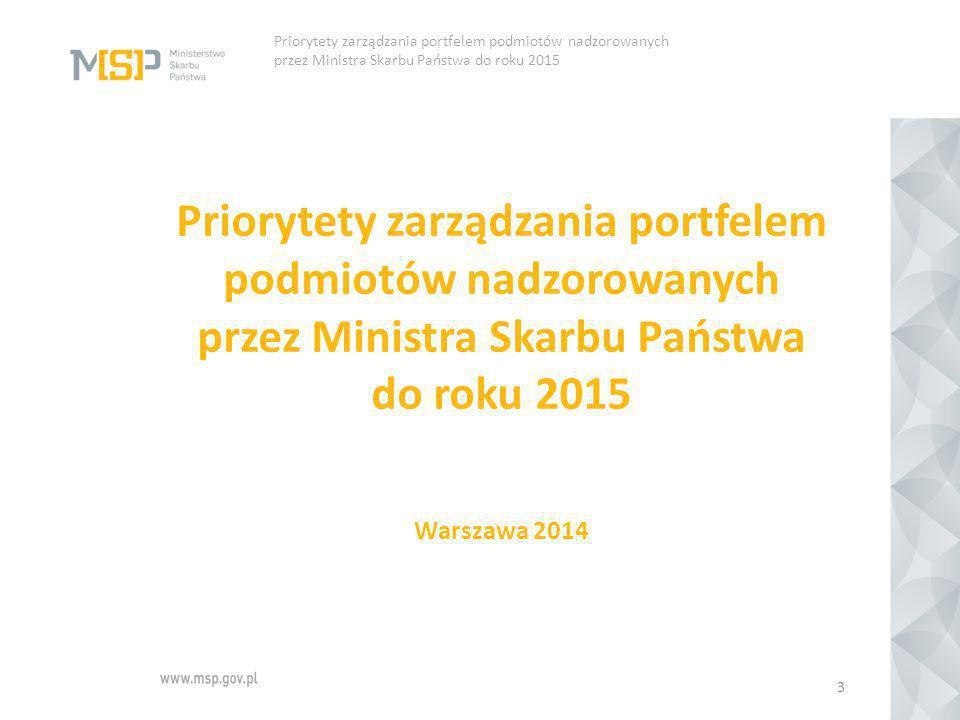 Priorytety zarządzania portfelem podmiotów nadzorowanych przez Ministra Skarbu Państwa do roku 2015