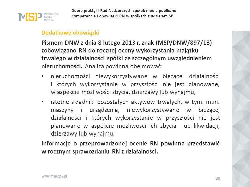 Dobre praktyki Rad Nadzorczych spółek media publiczne Kompetencje i obowiązki RN w spółkach z udziałem SP