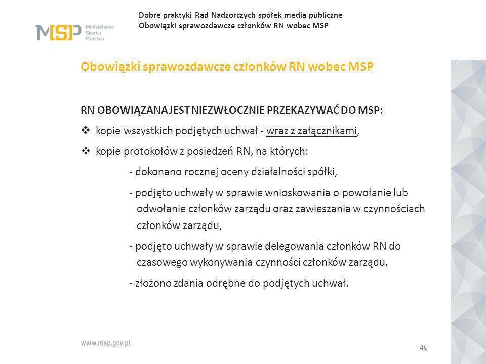 Obowiązki sprawozdawcze członków RN wobec MSP