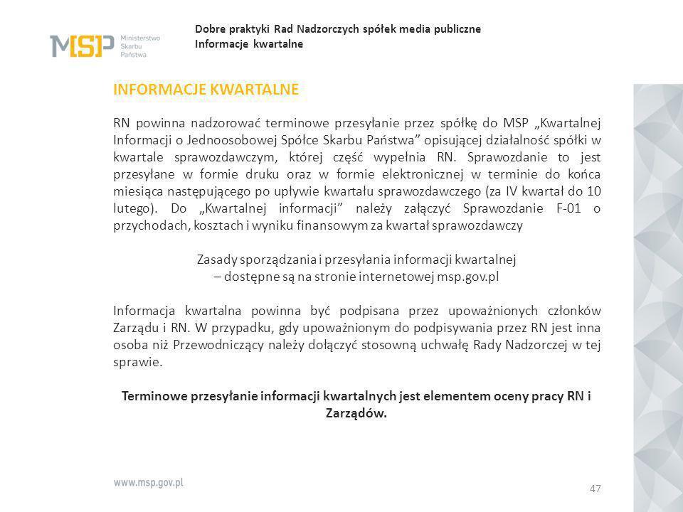 Dobre praktyki Rad Nadzorczych spółek media publiczne Informacje kwartalne
