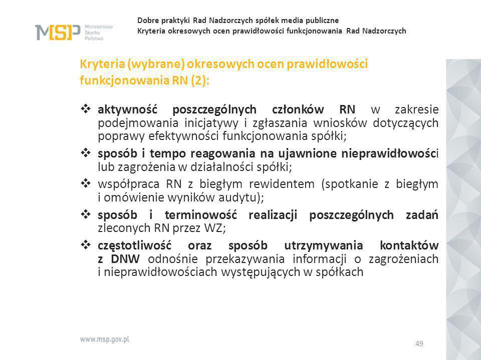 Dobre praktyki Rad Nadzorczych spółek media publiczne Kryteria okresowych ocen prawidłowości funkcjonowania Rad Nadzorczych