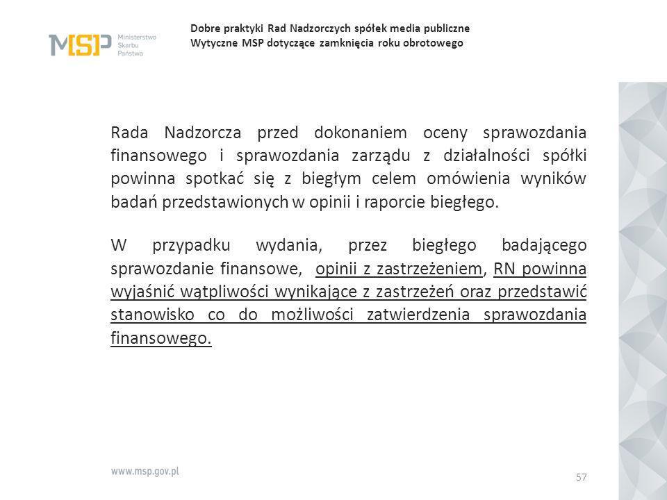 Dobre praktyki Rad Nadzorczych spółek media publiczne Wytyczne MSP dotyczące zamknięcia roku obrotowego