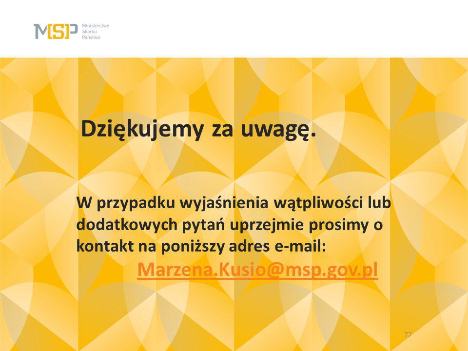 Dziękujemy za uwagę. Marzena.Kusio@msp.gov.pl