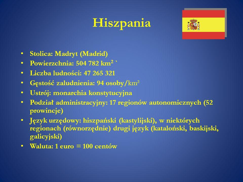 Hiszpania Stolica: Madryt (Madrid) Powierzchnia: 504 782 km2 `