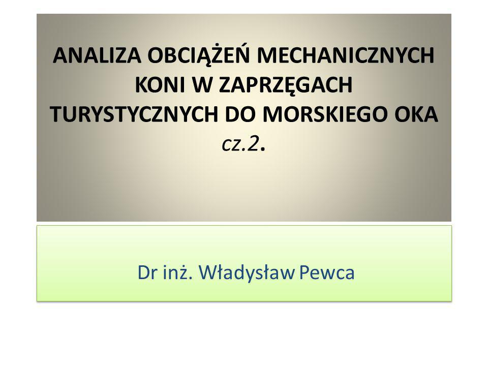 ANALIZA OBCIĄŻEŃ MECHANICZNYCH KONI W ZAPRZĘGACH TURYSTYCZNYCH DO MORSKIEGO OKA cz.2.