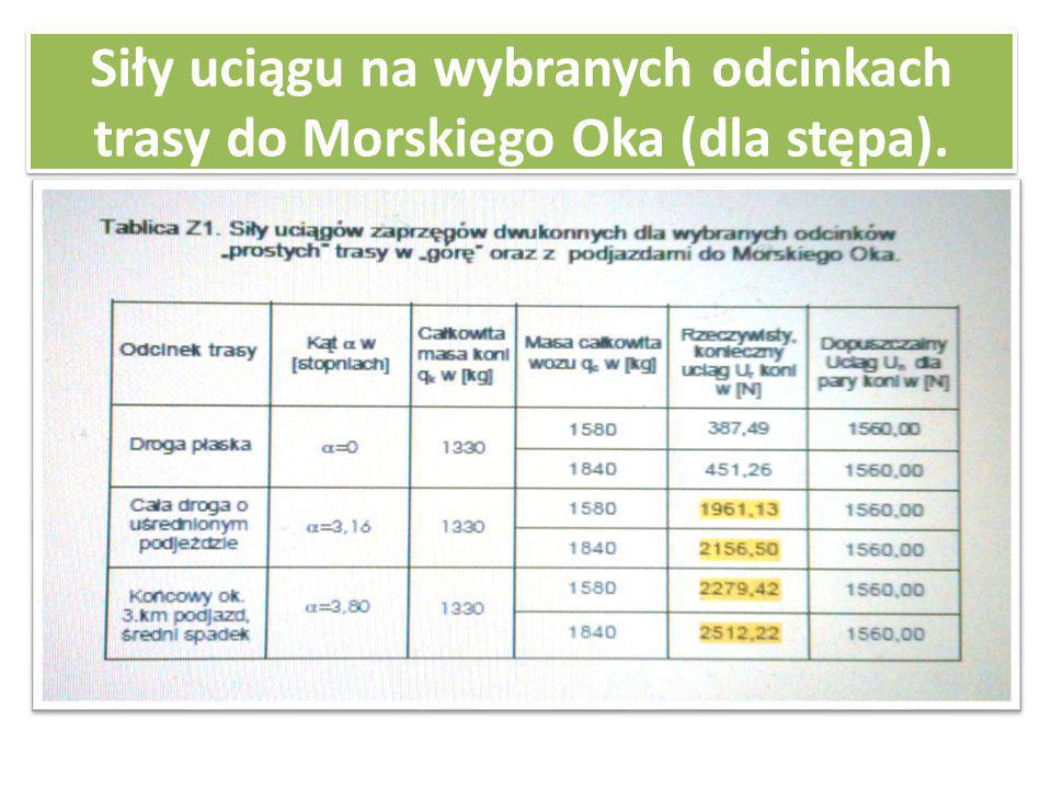 Siły uciągu na wybranych odcinkach trasy do Morskiego Oka (dla stępa).
