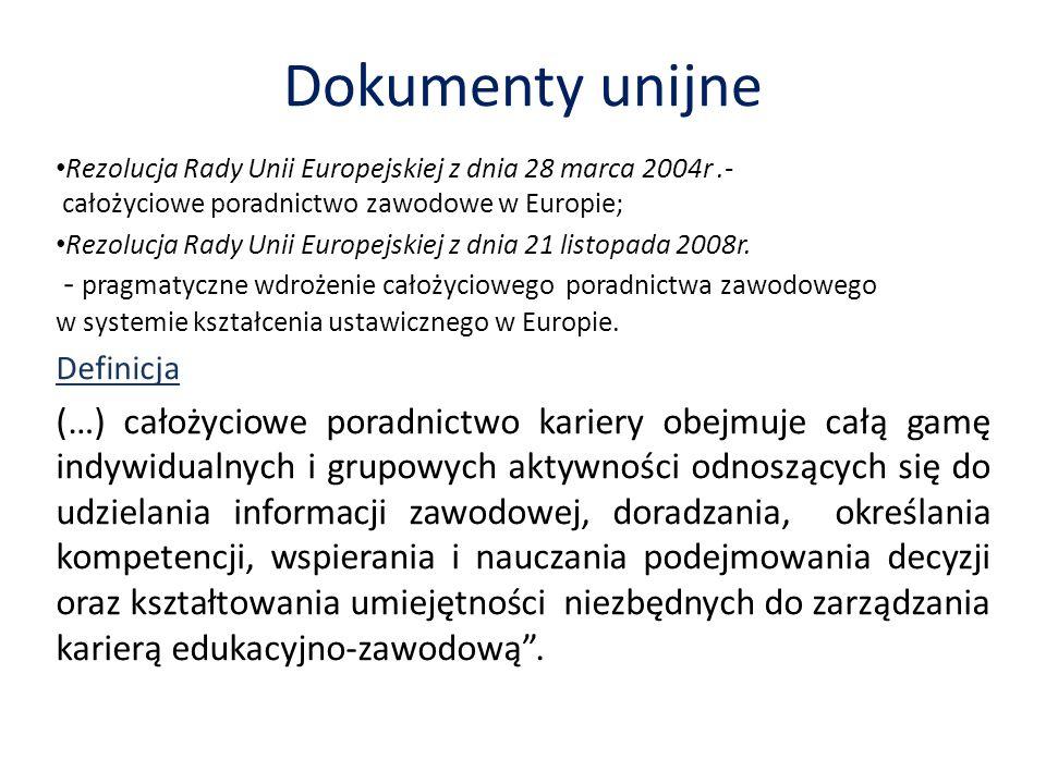 Dokumenty unijne Rezolucja Rady Unii Europejskiej z dnia 28 marca 2004r .- całożyciowe poradnictwo zawodowe w Europie;