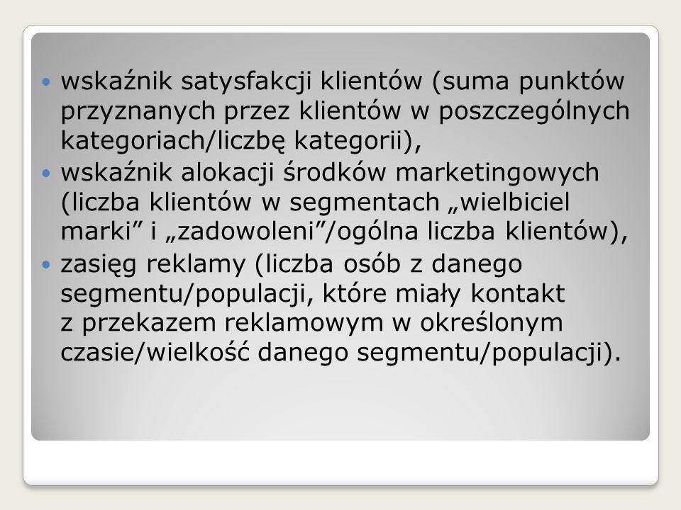 wskaźnik satysfakcji klientów (suma punktów przyznanych przez klientów w poszczególnych kategoriach/liczbę kategorii),