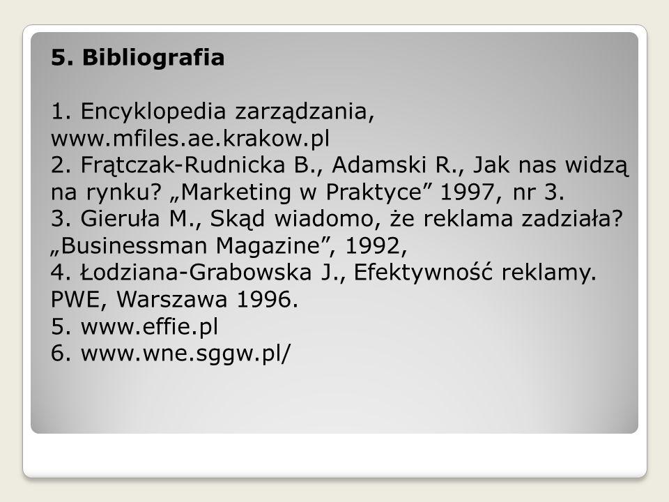5. Bibliografia 1. Encyklopedia zarządzania, www.mfiles.ae.krakow.pl 2. Frątczak-Rudnicka B., Adamski R., Jak nas widzą.