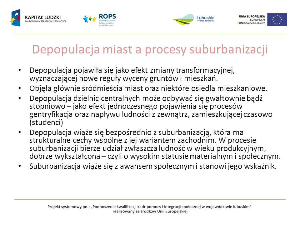Depopulacja miast a procesy suburbanizacji