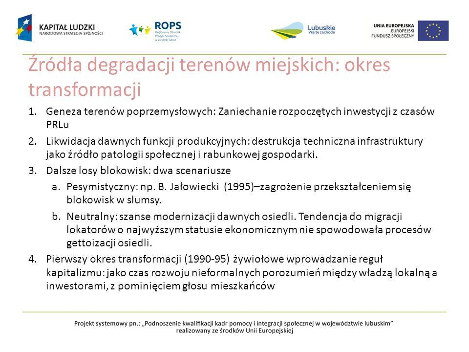 Źródła degradacji terenów miejskich: okres transformacji