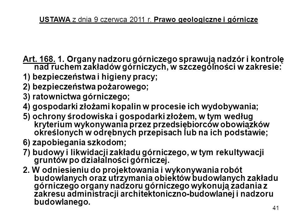USTAWA z dnia 9 czerwca 2011 r. Prawo geologiczne i górnicze