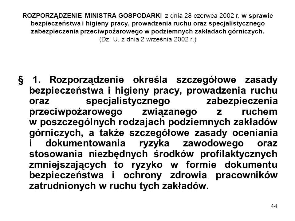 ROZPORZĄDZENIE MINISTRA GOSPODARKI z dnia 28 czerwca 2002 r