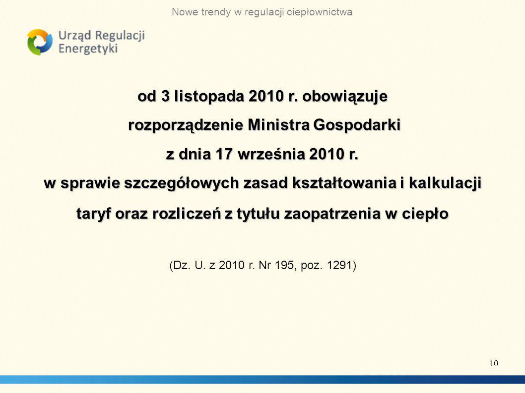od 3 listopada 2010 r. obowiązuje rozporządzenie Ministra Gospodarki