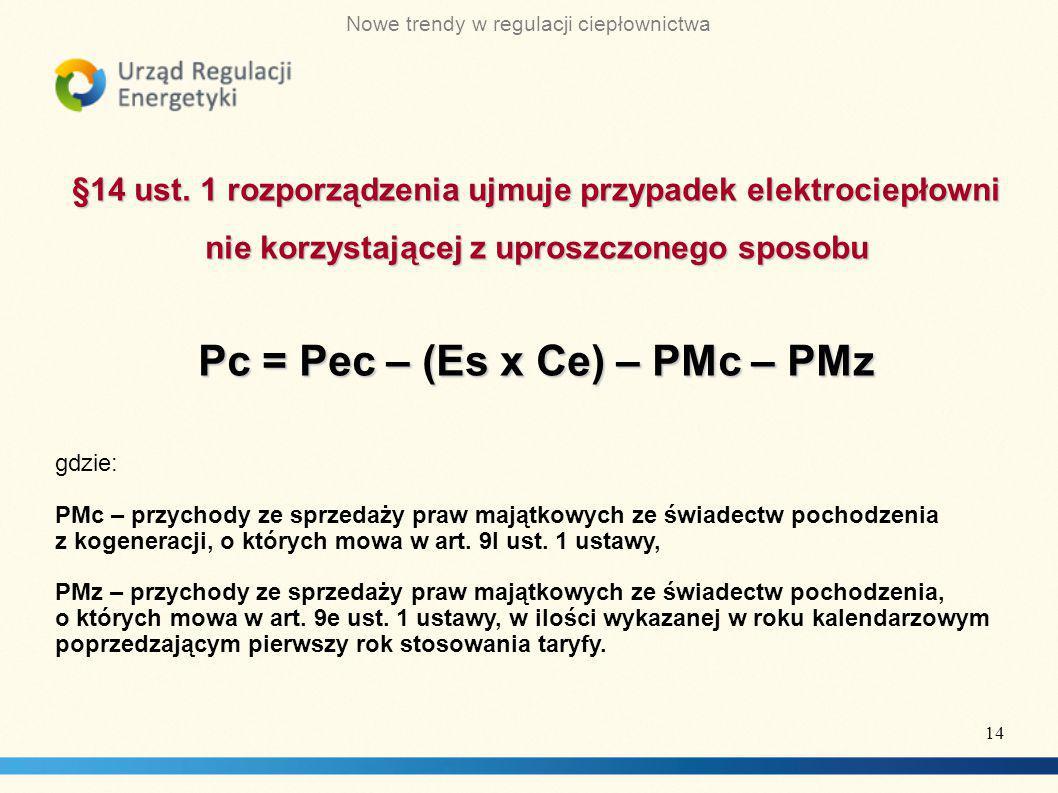 Pc = Pec – (Es x Ce) – PMc – PMz