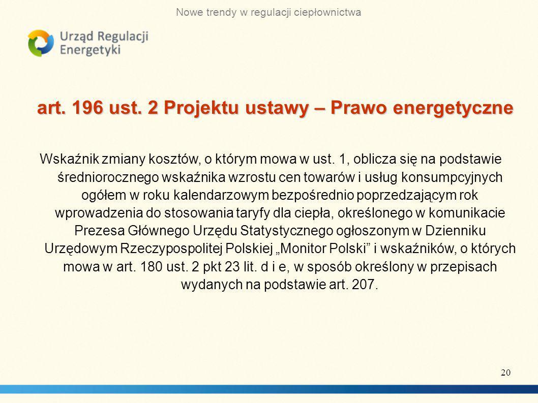 art. 196 ust. 2 Projektu ustawy – Prawo energetyczne