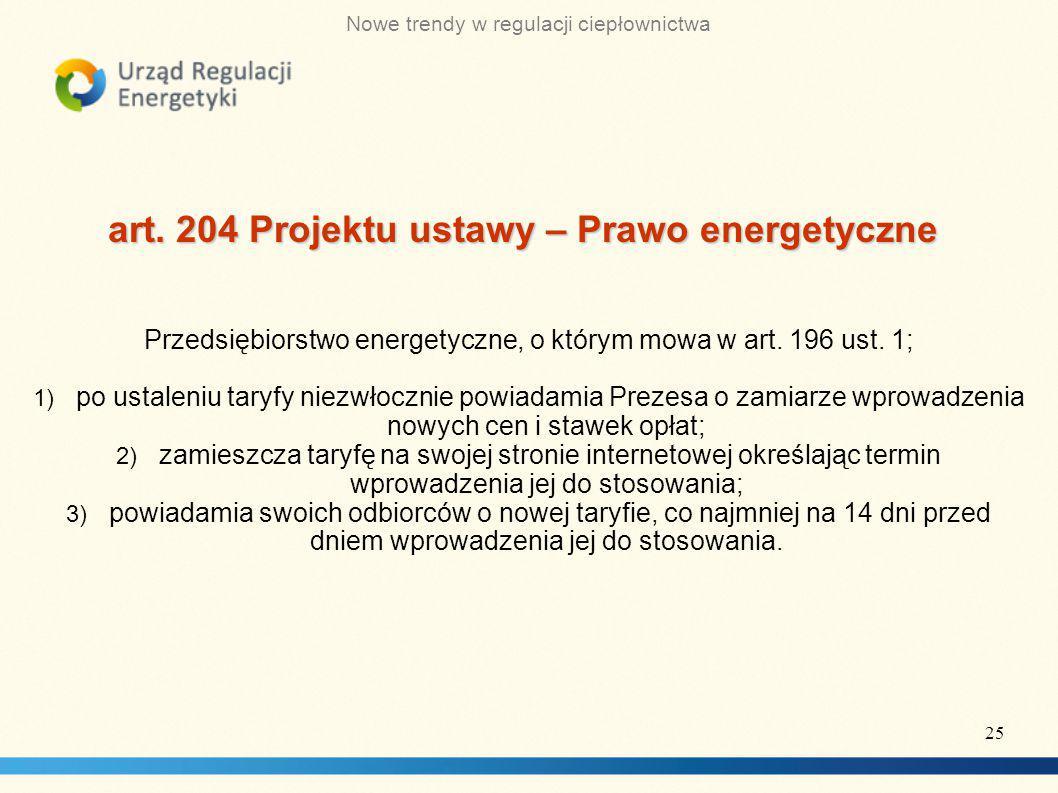 art. 204 Projektu ustawy – Prawo energetyczne